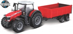 Massey Ferguson 8740S + TIPPING TRAILER